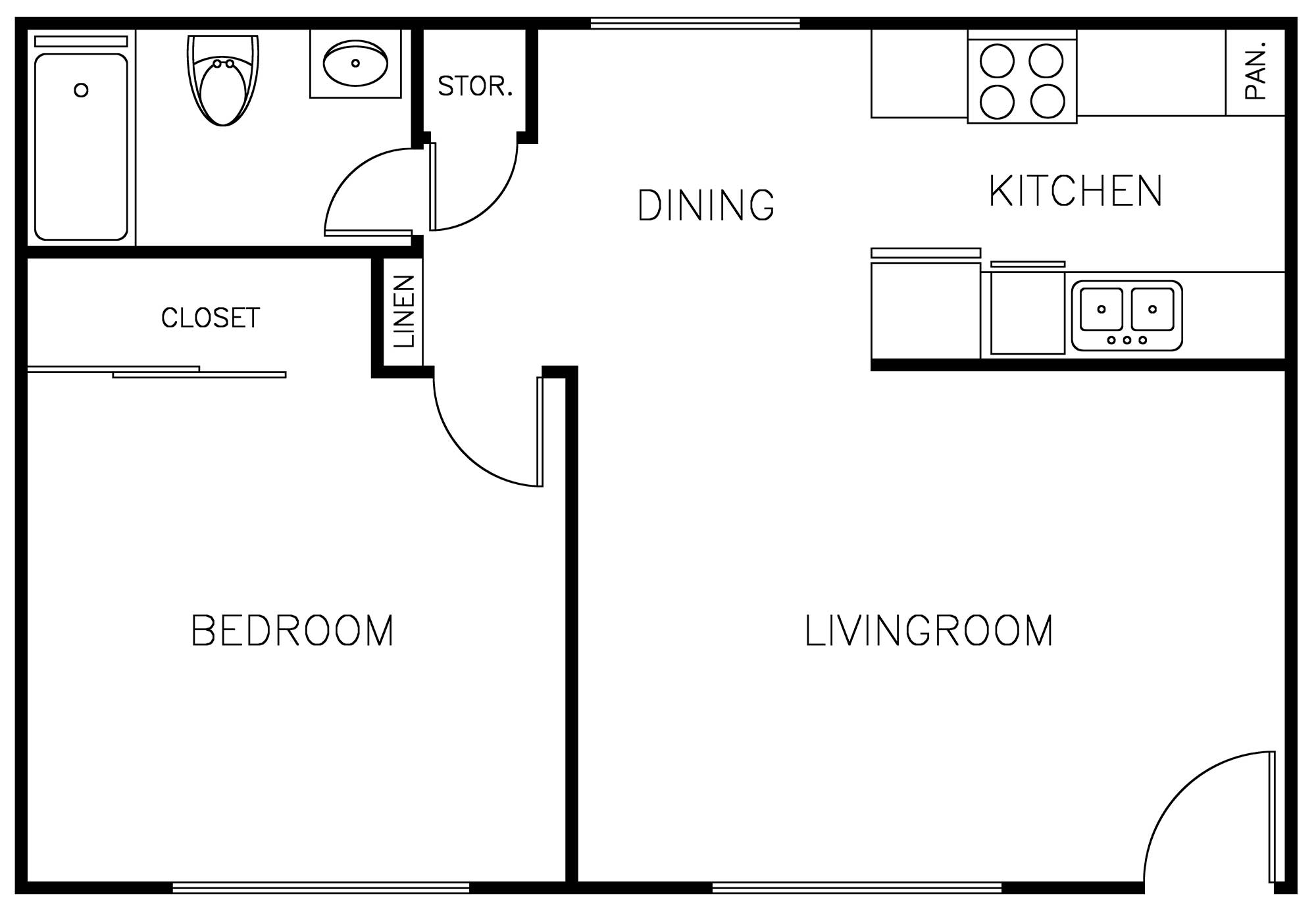 9212 Burke Street Apartments: 1 Bedroom floor plan