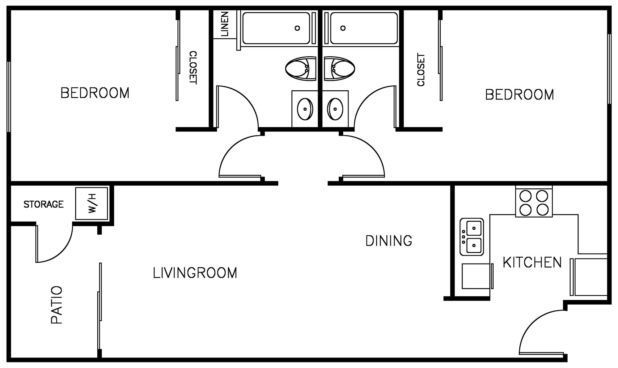 Durfee Terrace Apartments: 2 Bedroom floor plan